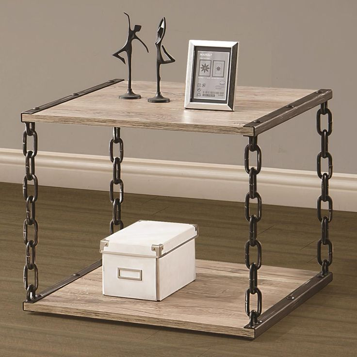 Coaster Furniture 703827 End Table In Natural Brown Black Pewter