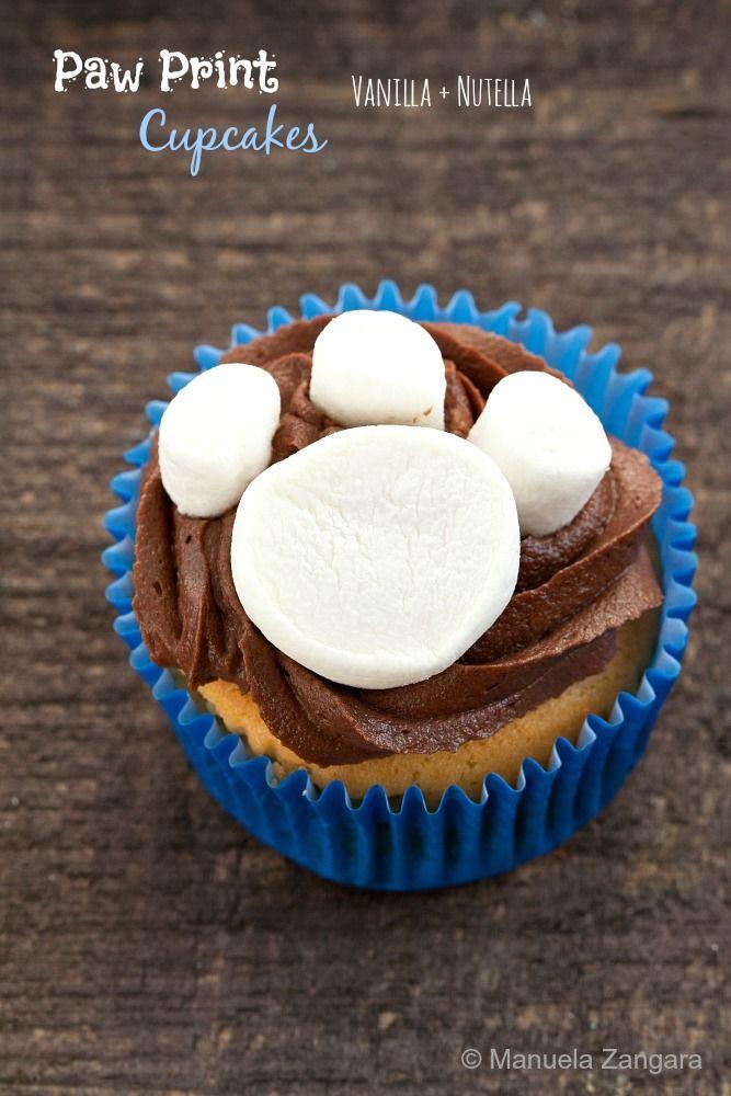#Vanilla and #Nutella Paw Print #Cupcakes - a fun idea and a delicious recipe!