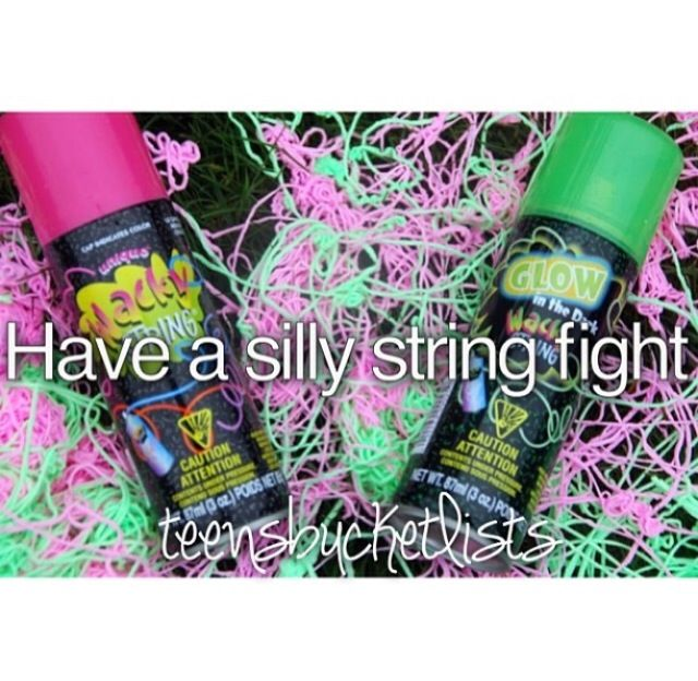 RELATIONSHIP BUCKET LIST: Having a silly string fight with the man I love…
