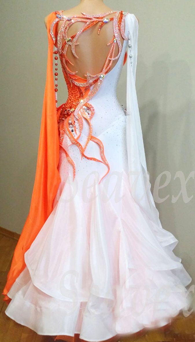 orange and white ballroom dress