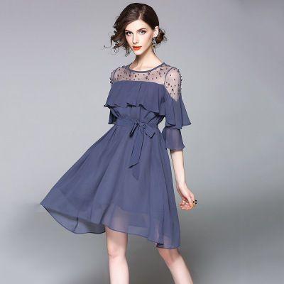 ドレス-ミニ・ミディアム 上品 シフォン 切替 2色 結婚式 二次会 お呼ばれ ドレス