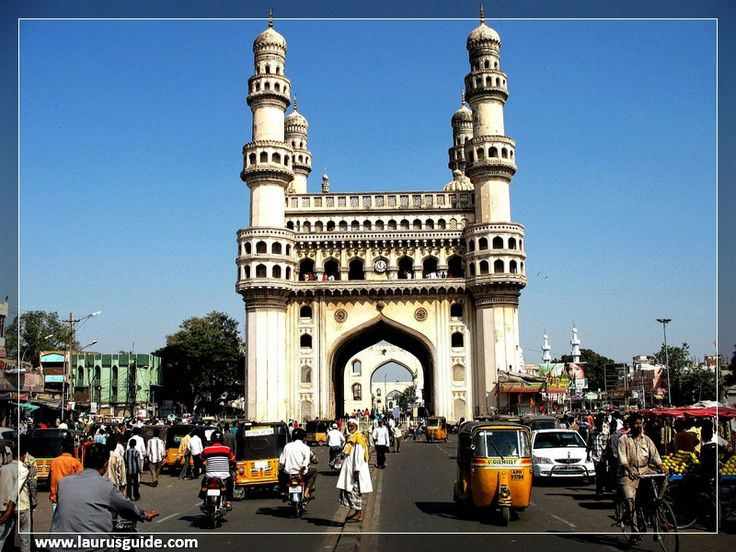 The Charminar is a monument and mosque in Hyderabad, India. The structure was built in 1591 AD. It is the most famous building of Hyderabad and also one of the most famous buildings in India. It was built by Muhammad Quli Qutb Shahi to celebrate the end of a deadly plague. The Charminar lies near the bank of the river Musi. It is close to Laad Bazaar and Makkah Masjid. Charminar is taken from two words Char and Minar which translate as Four Towers in English.