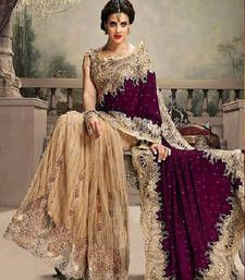 Buy purple embroidered net saree with blouse bridal-saree online