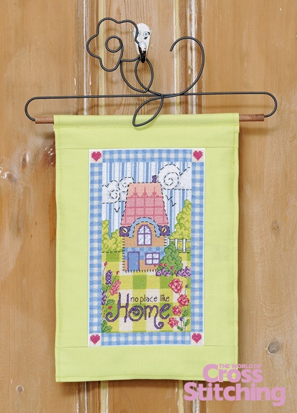 Cross stitch pattern – No Place Like Home hanging as seen in our new–look, bumper celebratory issue 200 of The World of Cross Stitching magazine