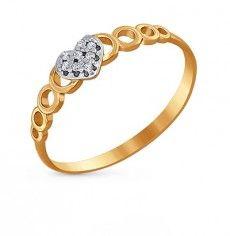 Кольцо Фианит Розовое золото 585 пробы. 31769