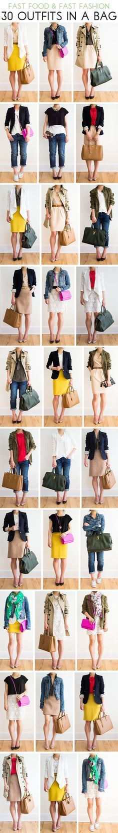 30 Outfits in a Bag: Boyfriend Jeans My absolute favorite look is third row down, far right.
