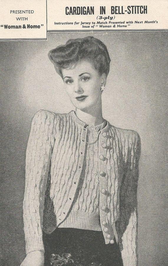 ORIGINAL BELL STITCH Cardigan Vintage Knitting Pattern 1940s - Beautiful Vintage Design / 2 Sizes  - Pretty Raised Pattern