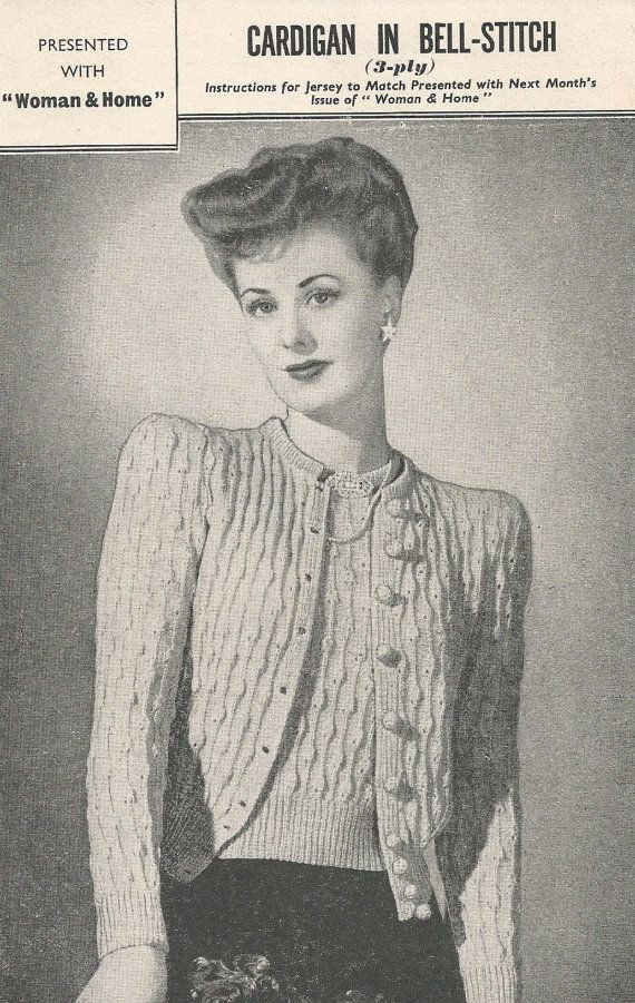 ORIGINAL BELL STITCH Cardigan Vintage Knitting Pattern 1940s - Beautiful Vintage Design / 2 Sizes  - Pretty Raised Pattern