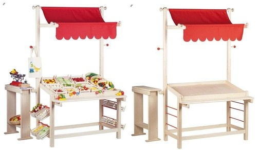 Wooden Play Market Stand,Childrens,Stall,Kitchen,Food,Grocers Store,Toys,