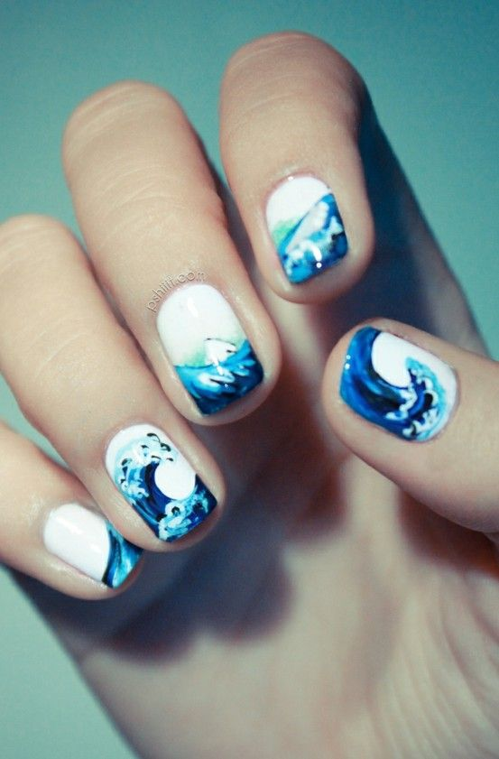 White with Blue Waves
