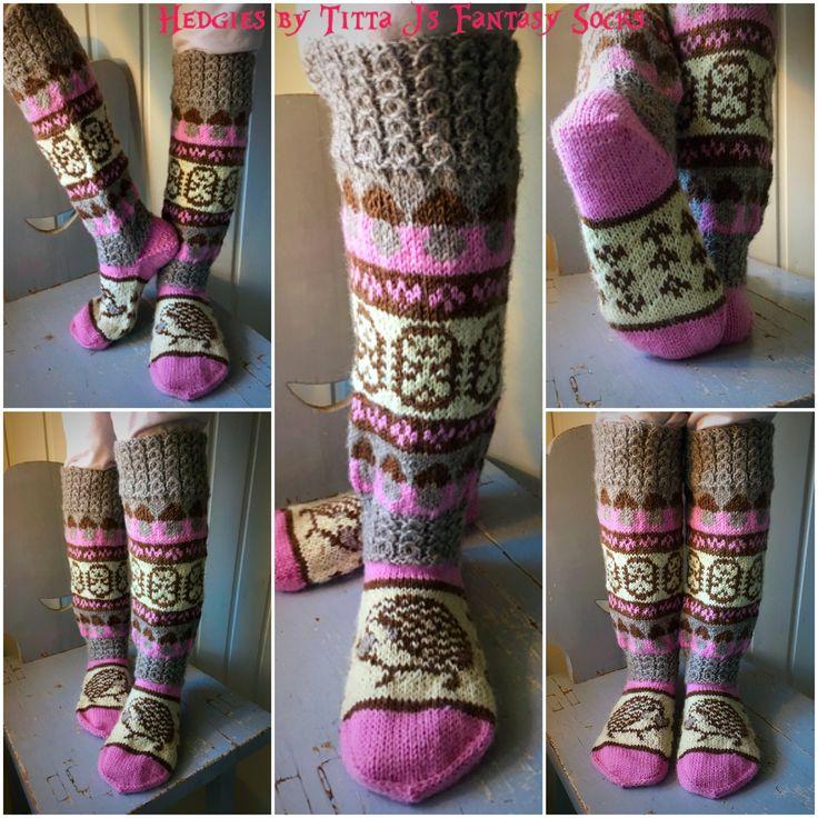 Hedgie -socks in pink by Titta J's Fantasy Socks