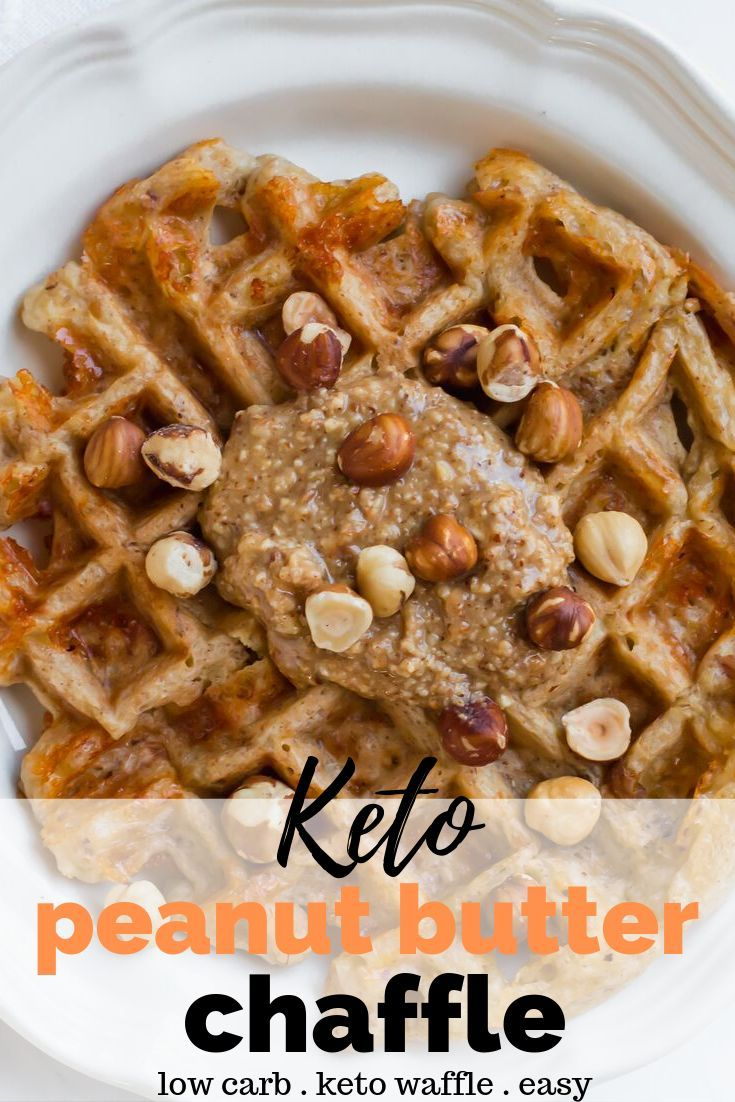 Keto Peanut Butter Chaffle Recipe - One of the most popular chaffle recipes on my keto recipe site! This is a peanut butter flavored keto waffle but y...