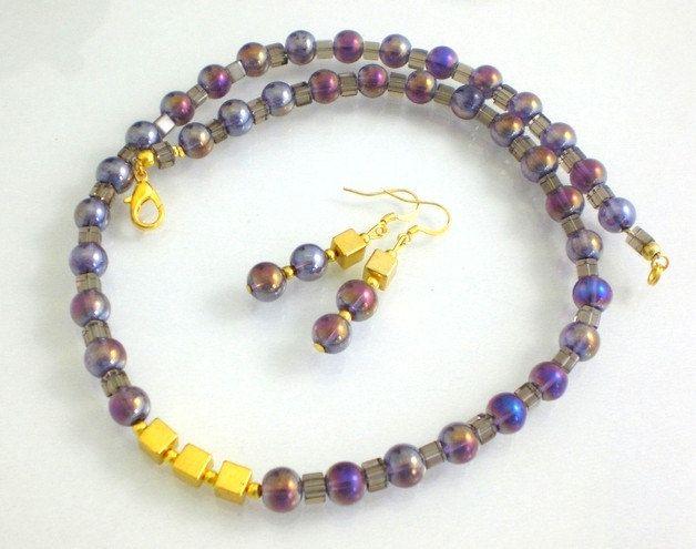 Kette Damen Kristall Würfel lila womans necklace cubes purple von JaquisaSchmuck auf Etsy