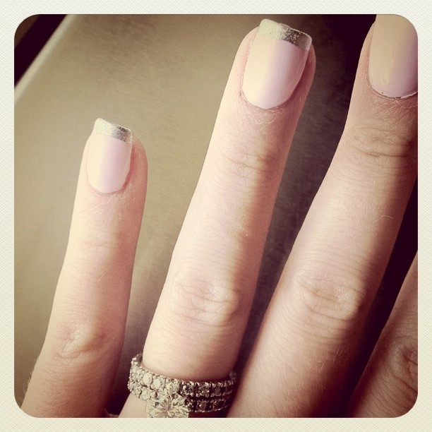 pink nails. silver tips.  Nails are pretty but the ring is Gorgious