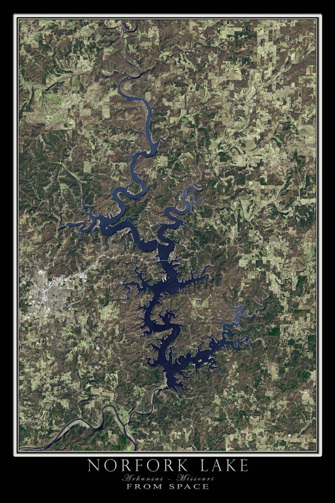 Norfork Lake Arkansas Missouri Satellite Poster