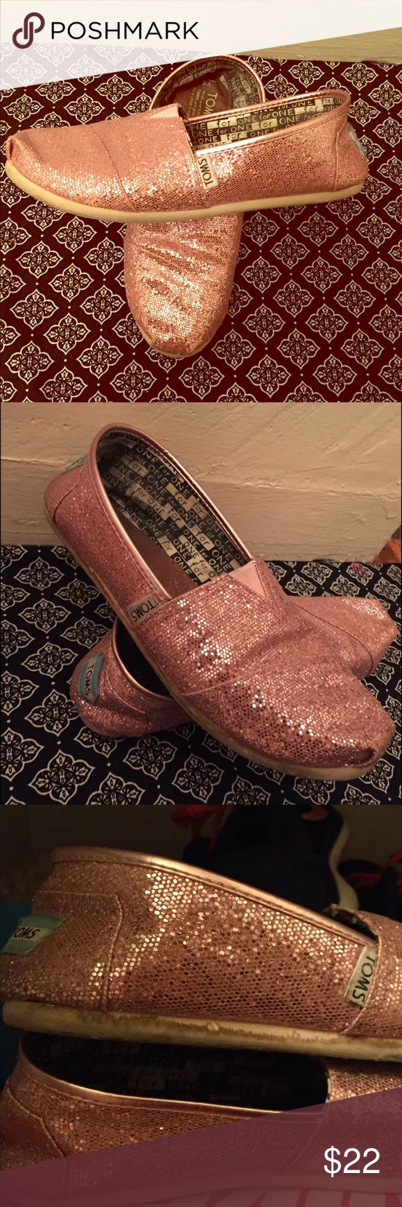 Pink Glitter Toms 5Y Women's 7 Good used condition pink and sparkly! TOMS Shoes Flats & Loafers