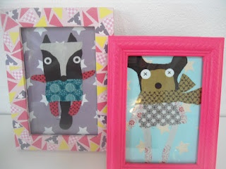 pictures made of fabric and paper. Frames decorated with maskingtape and neon paint