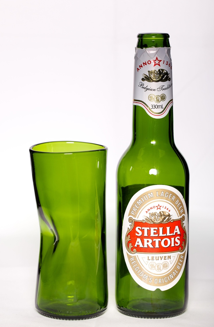 Sustainable Stubbies – Stella Dimple. The beer bottle has been washed, cut and taken through a heating process to apply an indention for the ergonomics of the thumb. • Available at thebigdesignmarket.com