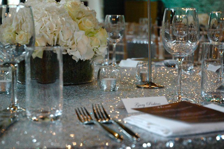 Sequin Table Cloths by #Elizabethhalleventdesign #weddingbreakfast #sequintablecloths #winterwedding