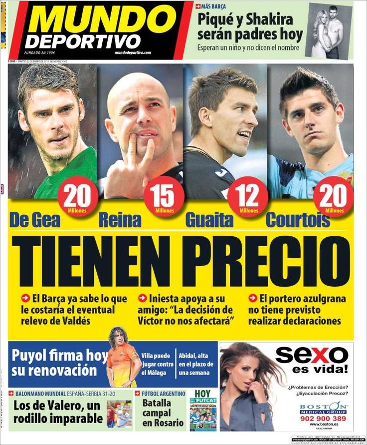 Los Titulares y Portadas de Noticias Destacadas Españolas del 22 de Enero de 2013 del Diario Mundo Deportivo ¿Que le parecio esta Portada de este Diario Español?