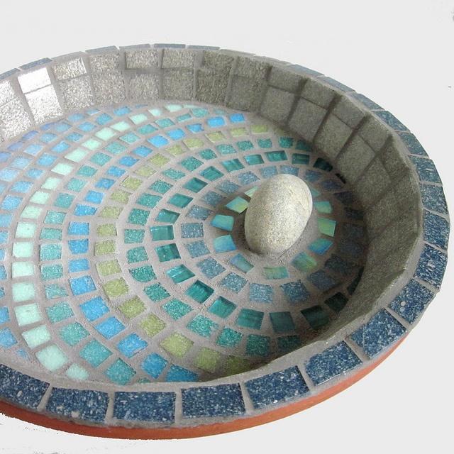 Blue Rim Mosaic Garden Bird Water Bath --- I like the rock idea.