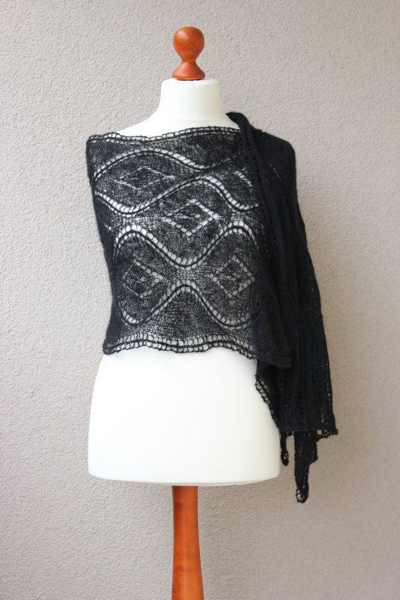 black lace stole elegant wrap summer scarf mohair by OlaKnits