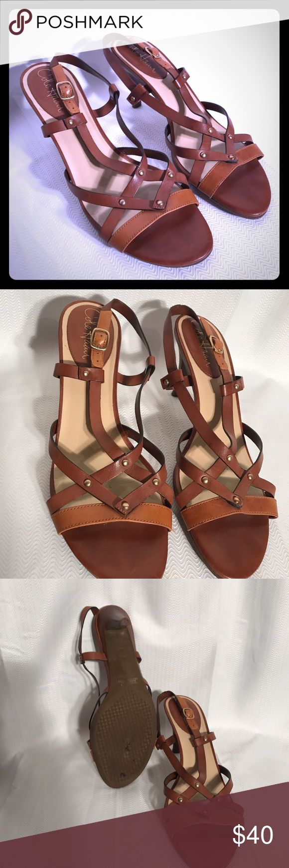 Cole Hann two toned leather sandals. Size 8.5. Cole Hann two toned leather sandals. Size 8.5.  Fantastic condition. Cole Haan Shoes Sandals