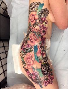 Pretty Floral Side Tattoo http://tattooideas247.com/pink-roses-lace/
