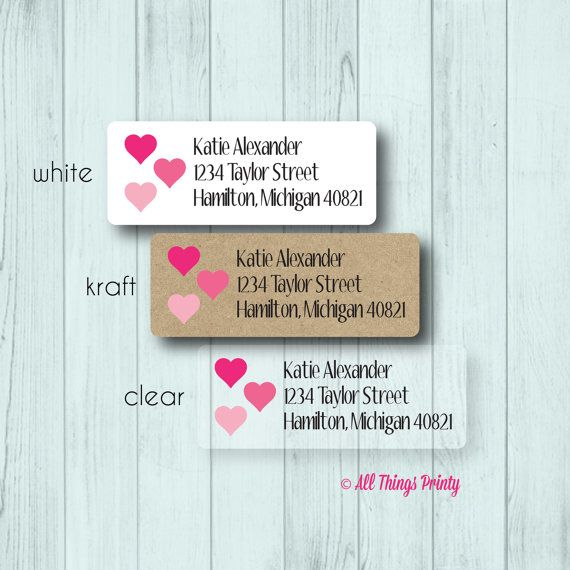 Custom Love Return Address Labels Personalized Wedding Or Engagement Mailing Matte White Kraft Clear Gloss