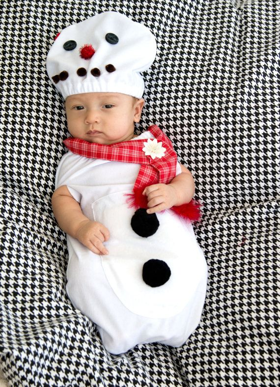 Christmas Baby Costume CUTE SNOWMAN Hat and baby swaddle ...