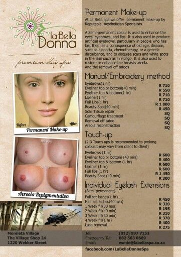Permanent make-up cancer nipple reconstruction