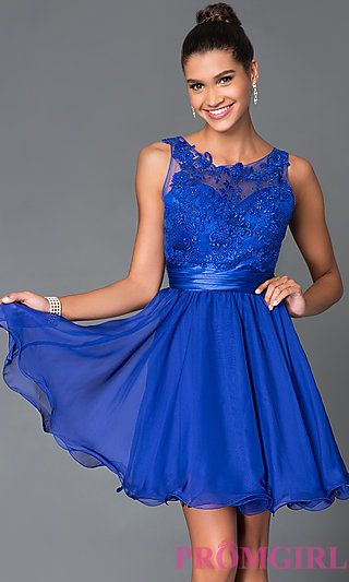 Short Sleeveless Dress 7064 with Lace Bodice at PromGirl.com