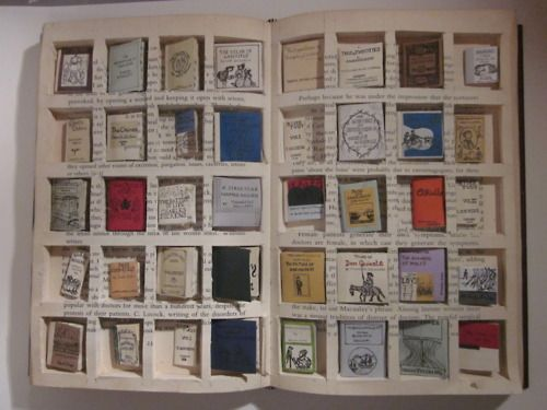 Student's Project Cleverly Explains A Kindle To Charles Dickens. To do so, she devised a way for a big book to hold forty miniature books and did so by cutting spaces in the pages to hold the shrunken titles. The end result is simply beautiful and certainly illustrates an e-reader to someone not at all familiar with technology.
