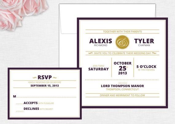 Simple Modern Wedding Invitation Set - Square Invitation - Modering Wedding Invite - Custom Colors Available