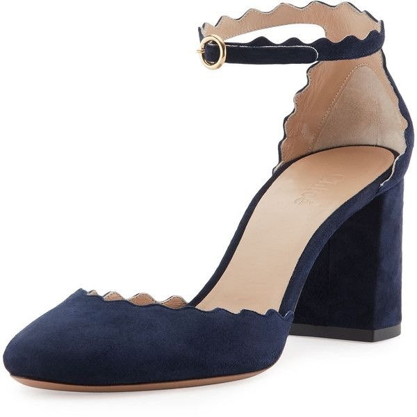Chloe Lauren Scalloped D'Orsay Pump ($740) ❤ liked on Polyvore featuring shoes, pumps, heels, blue lagoon, blue pumps, blue suede shoes, almond toe pumps, high heel shoes and blue heeled shoes