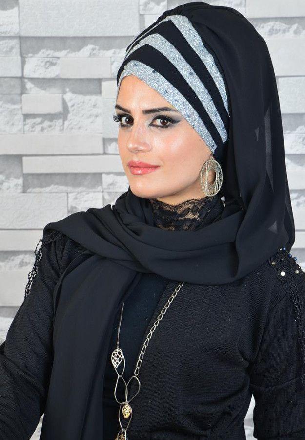 045778c23cb16 Aişe Tesettür - Siyah Gümüş Simli Drapeli Hazır Abiye Şal | Resim in ...