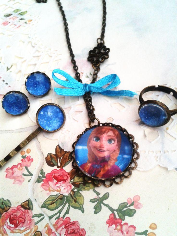 Disney Jégvarázs Anna szett kislány ékszer, mesés nyaklánc kis hercegnők örömére (vintage, jewerly, necklase, Disney Princess, Minnie, Frozen)