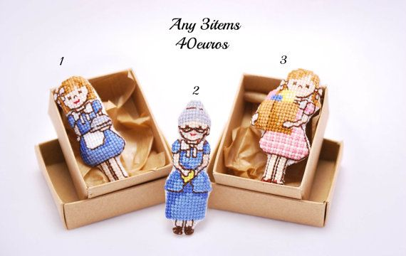 Figures Cross stitch Brooches. Buy 3 for 40 by MeandMamaCreations