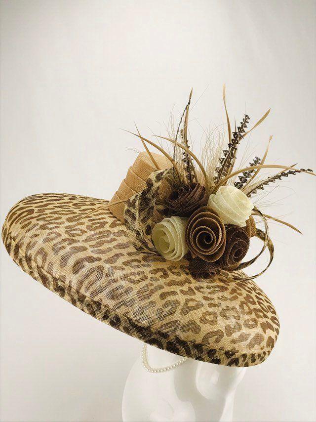 Animal Print Wide Brim Sinamay Hat Etsy Sinamay Hats Fancy Hats Wide Brimmed