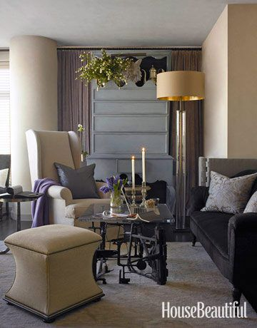 Designer Susan Ferrier decorated this New York City apartment with a neutral color palette. In the living room, gray creates a sensual mood through the use of light and dark layers. There's a cabinet-of-curiosities aspect to the furnishings, starting with an iron-and-glass coffee table made by an unknown artist and found in France....
