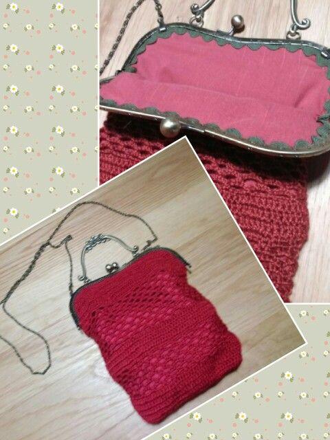 Bolso de crochet con boquilla antigua