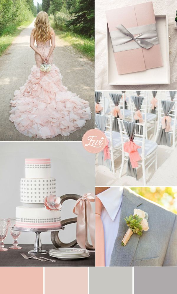 Shades of pink blush and grey wedding color ideas and pocket wedding invitations