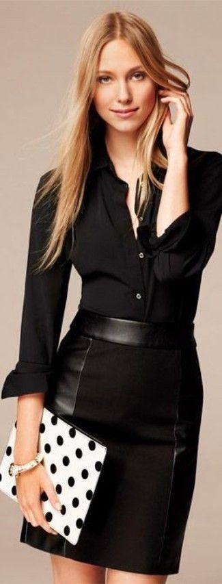 Women's Black Dress Shirt, Black Leather Pencil Skirt, White and Black Polka Dot Clutch, White Bracelet
