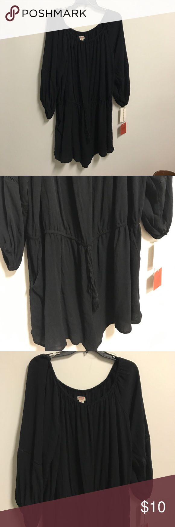 Mossimo Supply Co SZ XXL Black Romper style with drawstring waist, swimsuit cover. Mossimo Supply Co Swim Coverups