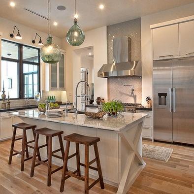Love the light fixtures kitchen