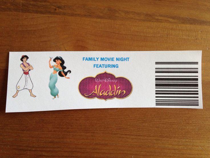 Our Aladdin Tickets - Aladdin Movie Night - Disney Movie Night - Family Movie Night