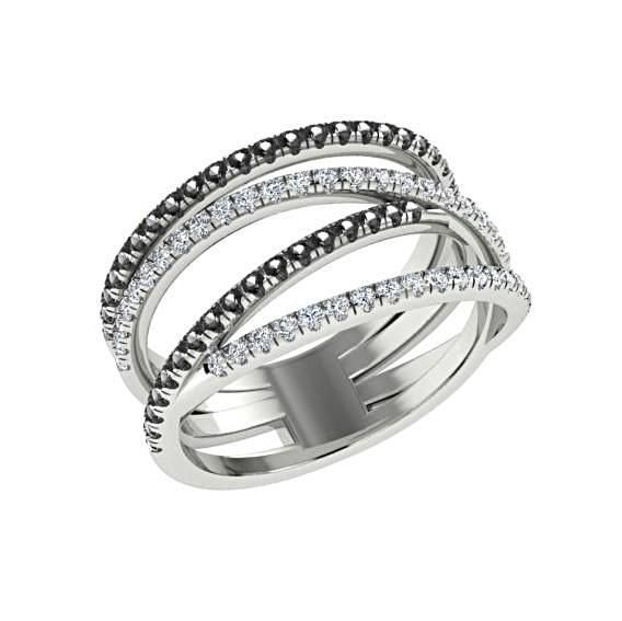 Black and White Diamonds Wide Ring 14K White Gold Crisscross Band