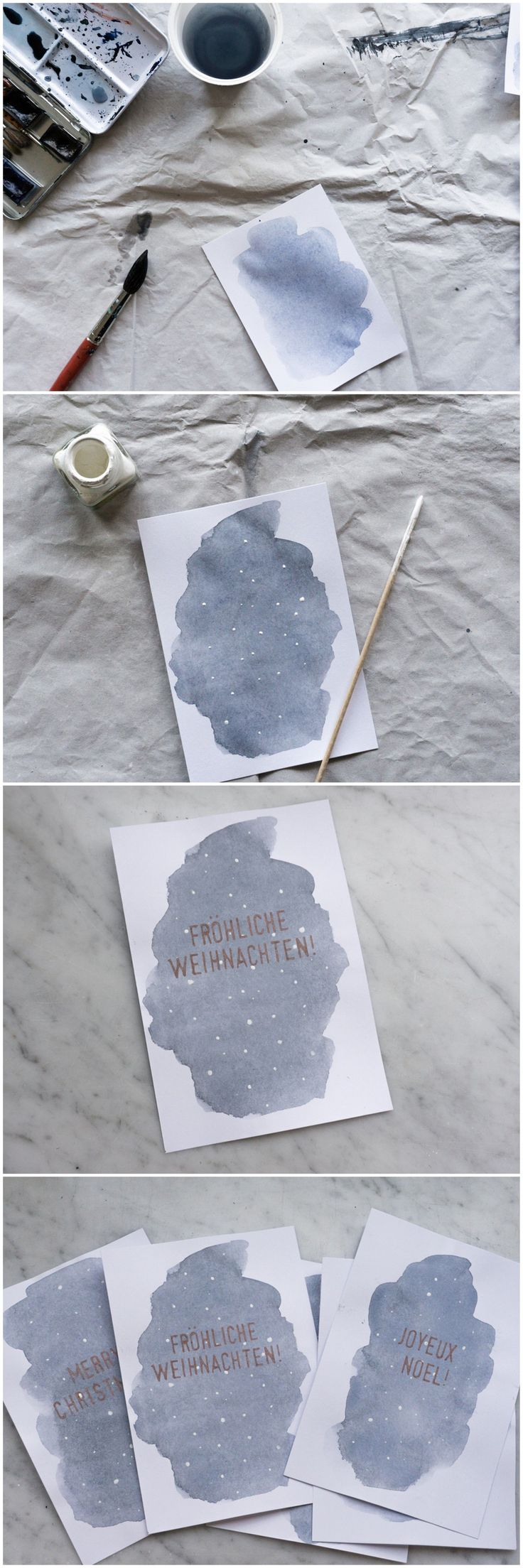 Make watercolor Christmas cards