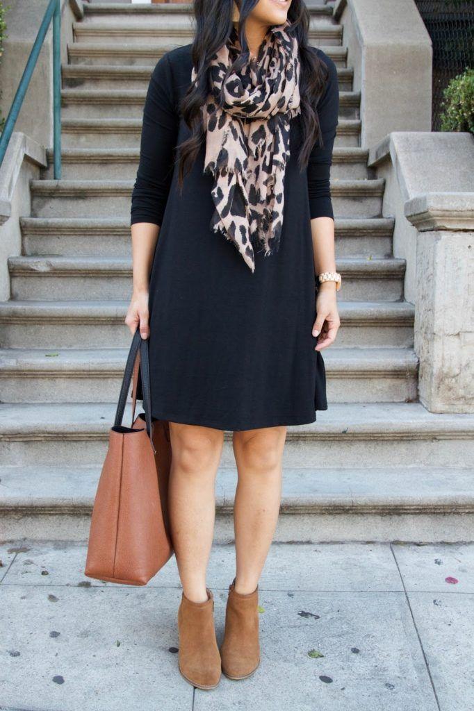black swing dress + leopard scarf + brown booties + cognac bag
