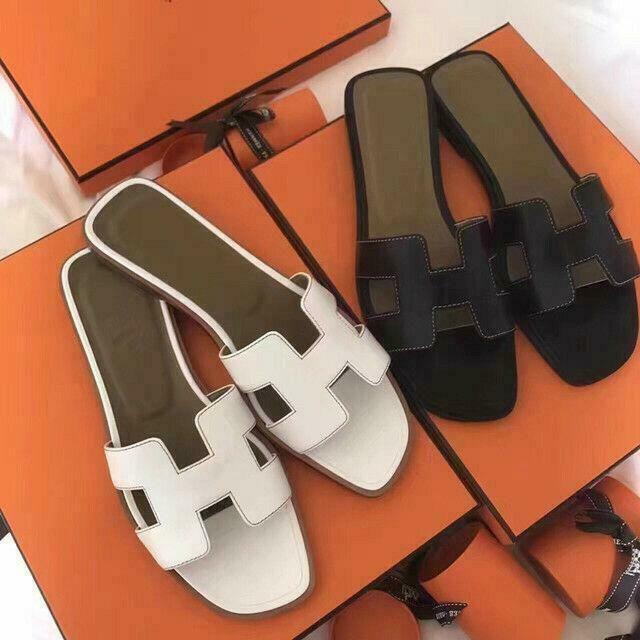 (eBay Advertisement) Women's Black Oran Flat Sandals H Type Genuine Leather …